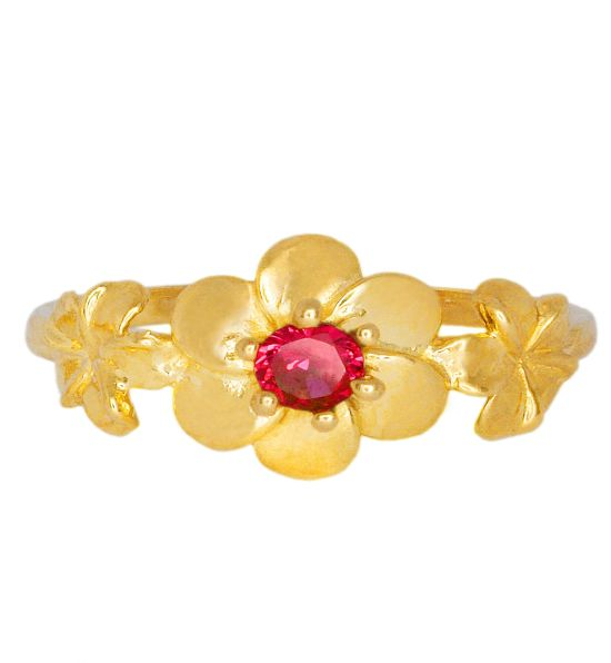 Color Stone Ring - Ruby Flower