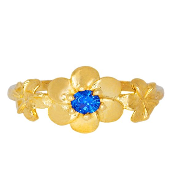 Color Stone Ring - Blue Flowers
