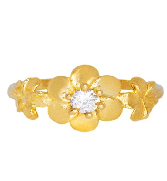 Color Stone Ring - Diamond Flower