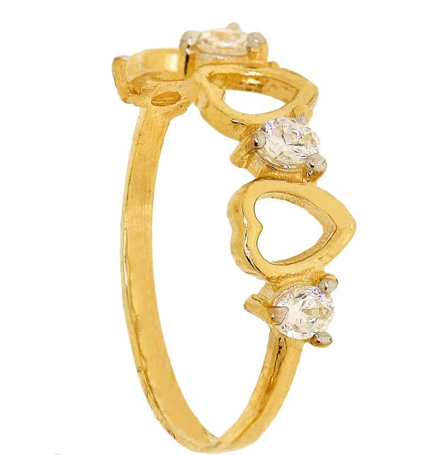 Cubic Zirconia Ring - Hearts wDiamonds