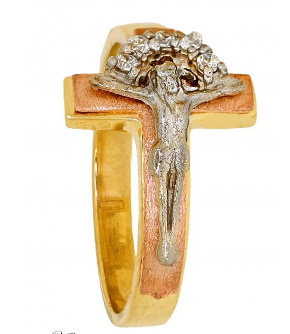 Cubic Zirconia Ring - Jesus Silver Over Gold