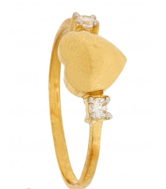 Cubic Zirconia Ring - Heart with 2 Diamonds