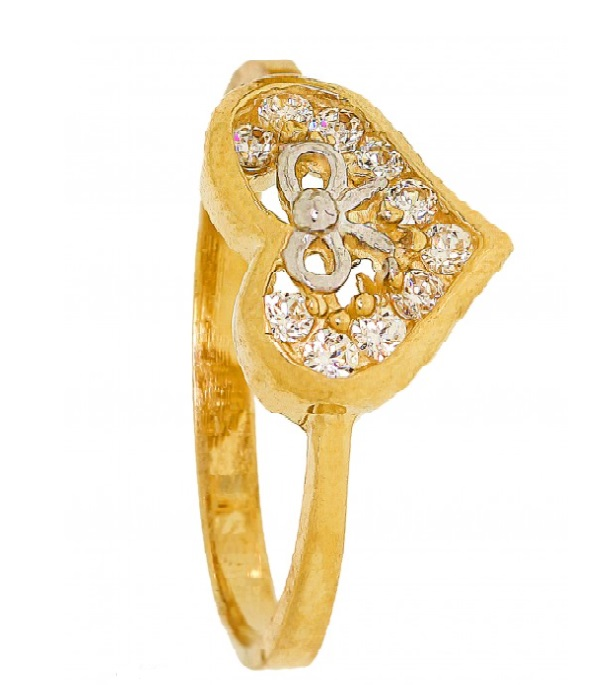 Cubic Zirconia Ring - Heart Filled Diamonds